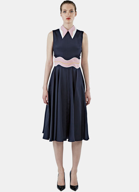 Morocain Seersucker Wave Dress