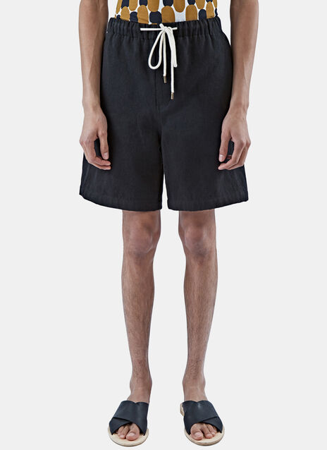 Drawstring Twill Panel Shorts