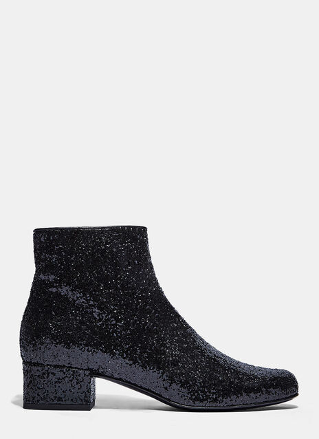 Glitter Heeled Ankle Boots