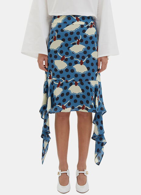 Frilled Floral Jacquard Skirt