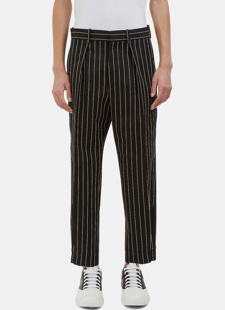 Buttoned Cuff Pinstripe Twill Pants