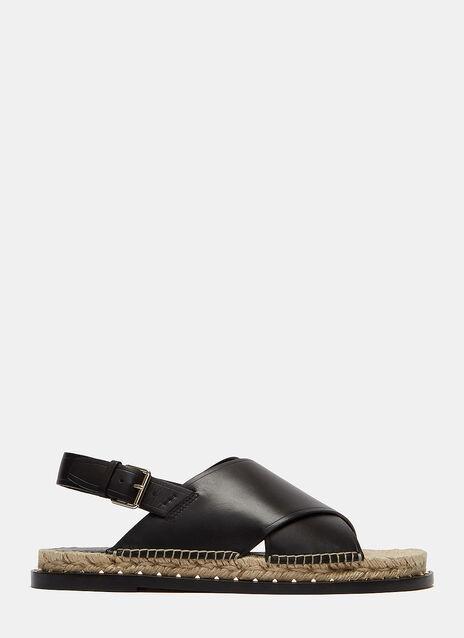 Pyramid Stud Crossover Espadrille Sandals