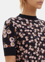 Floral Intarsia Knit T-Shirt