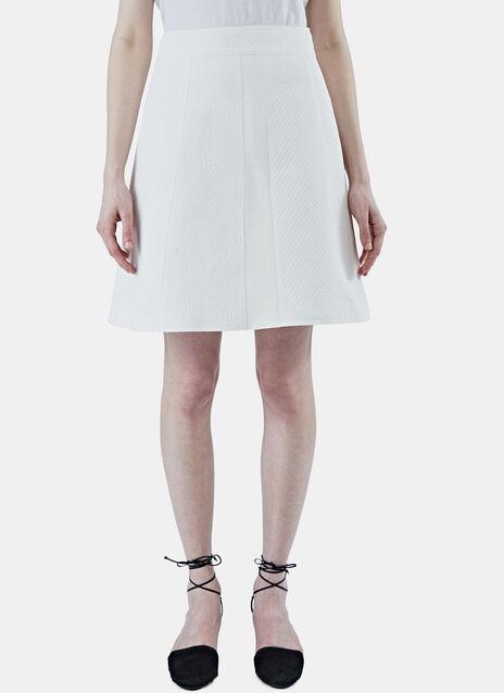 A-Line Floral Jacquard Matelassé Skirt