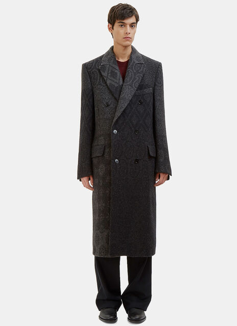 Long Double-Breasted Jacquard Coat
