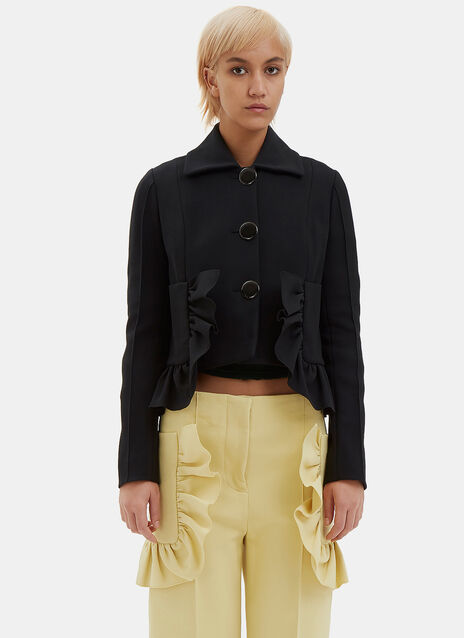 Cropped Frill Crepe Jacket