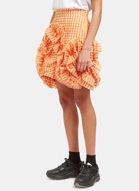 Seersucker Checked Ruffle Mini Skirt