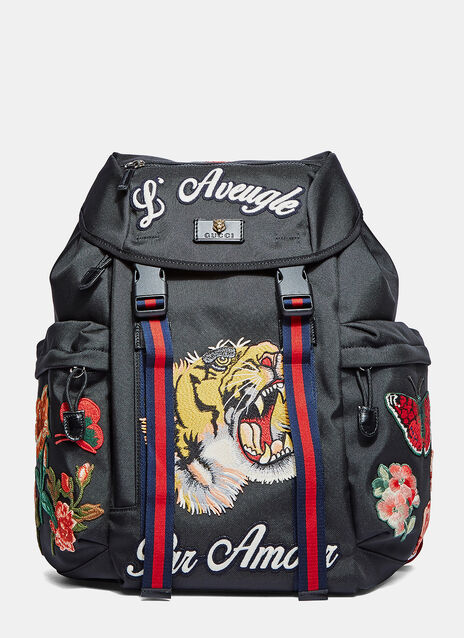 Zaino Embroidered Patch Canvas Backpack