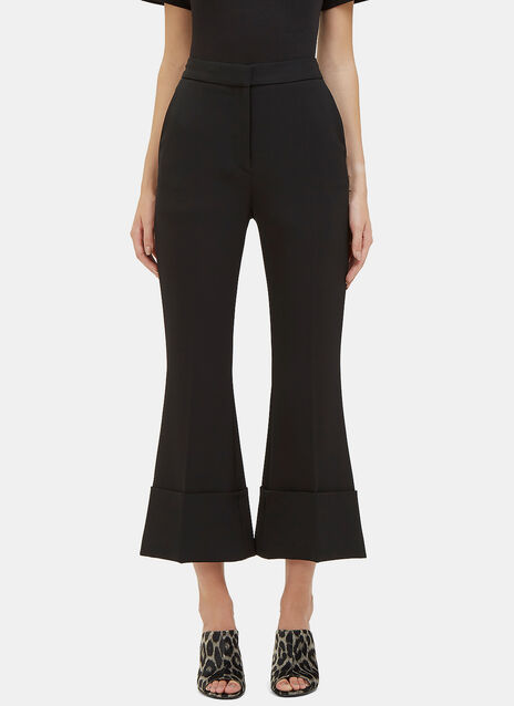 Wide Leg Flared Twill Pants