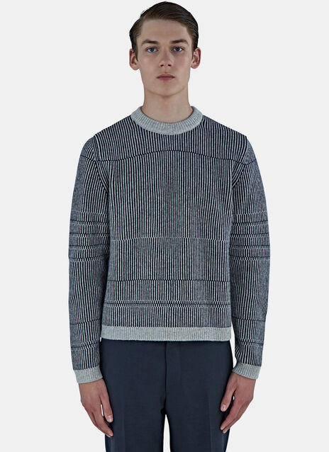 Needle Rib Jacquard Crew Neck Sweater