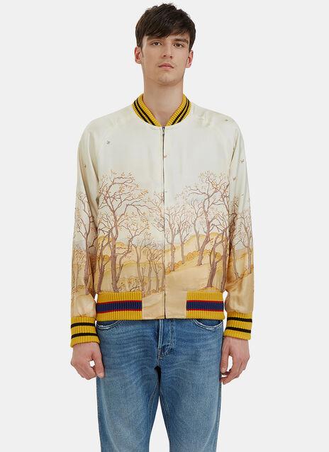 Scenic Print Silk Bomber Jacket