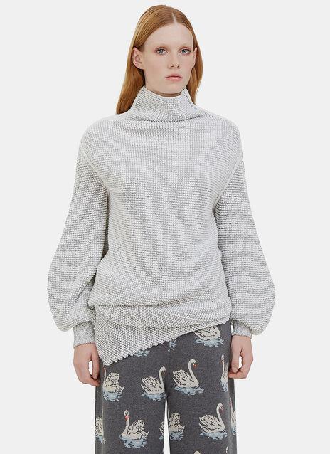 Oversized Asymmetric Bi-Colour Knit Sweater
