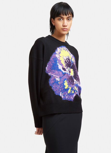 Oversized Floral Intarsia Knit Sweater