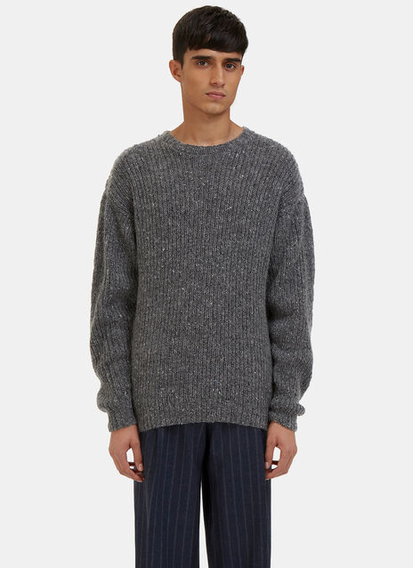 Crew Neck Ribbed Knit Sweater