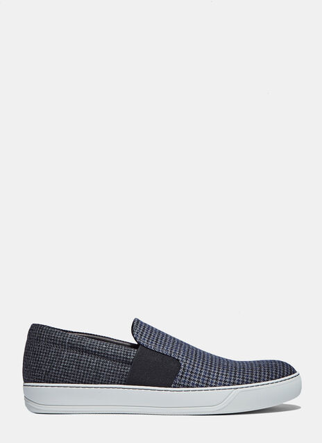 Houndstooth Wool Slip-On Sneakers