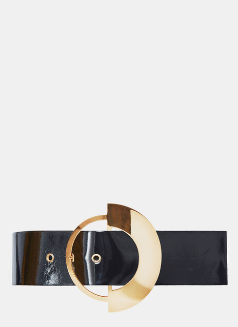 Wide Brass Buckle Belt
