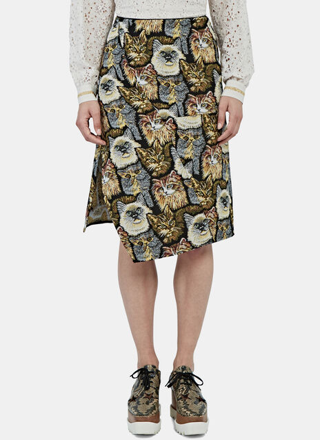 A-Line Cat Embroidered Skirt