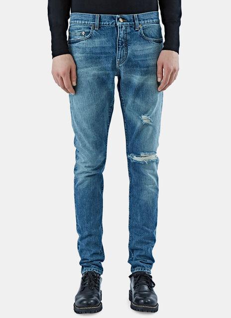 Distressed Mid Waist Jeans
