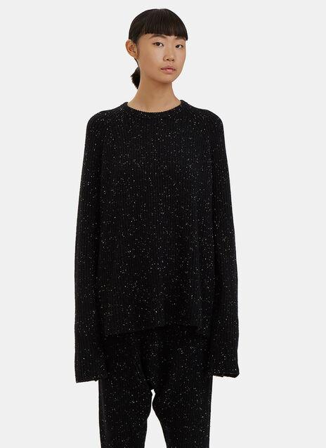 Flecked Knit Raglan Sleeved Sweater
