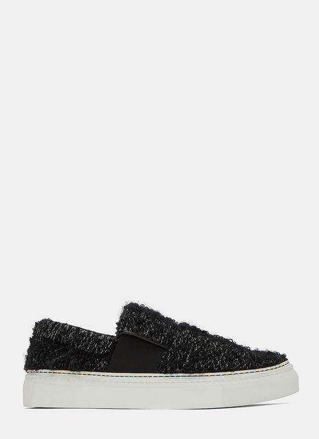 Pilled Wool Slip-On Sneakers