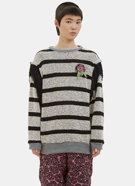 Vote Rosette Striped Knit Sweater