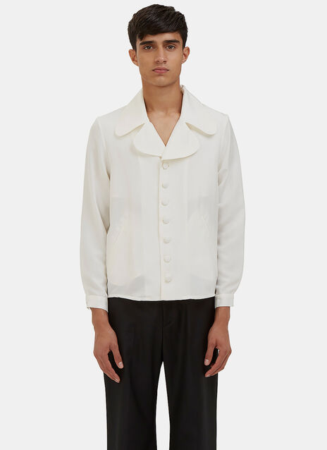 Baba Rounded Lapel Silk Shirt