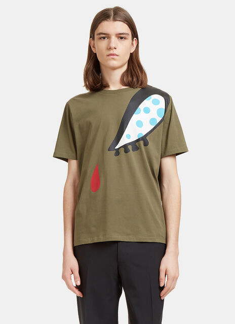 Doll Eye Print T-Shirt in Khaki