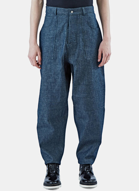 Wide Leg Selvedge Patch Pocket Jeans