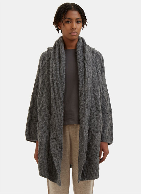 Patchwork Cable Knitted Cardigan