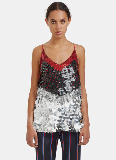 Greer Sequinned Metallic Paillette Top
