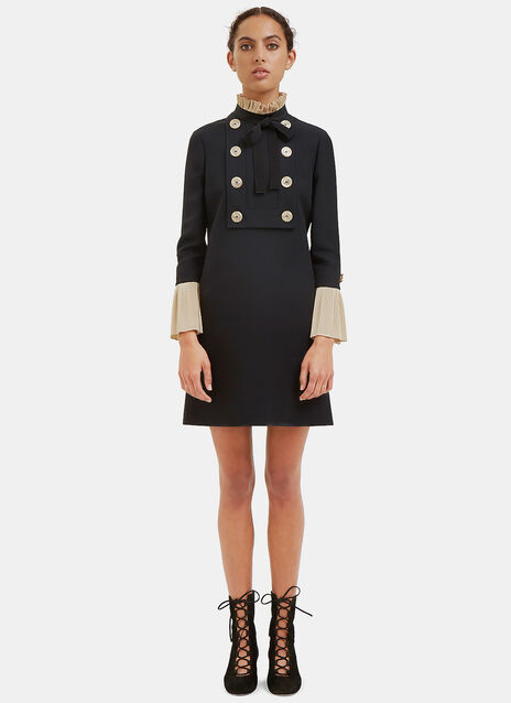 Pleated Ruffle Military Mini Dress