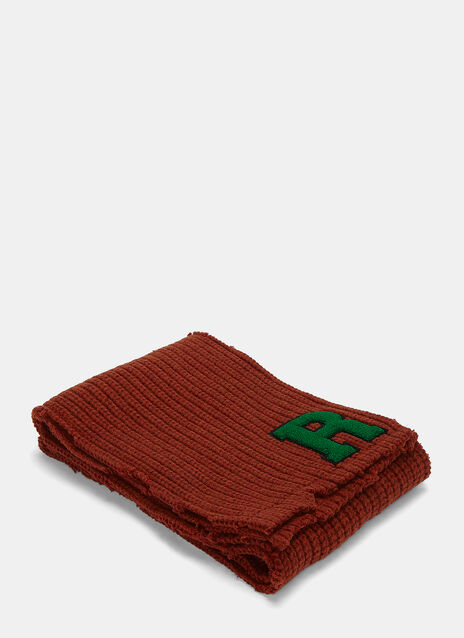 Long Ribbed Knit Fleeced Logo Scarf