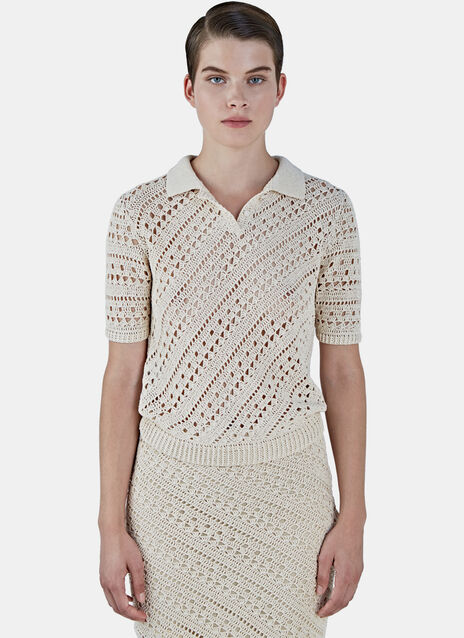 Fontaine Crochet Knit Polo Shirt