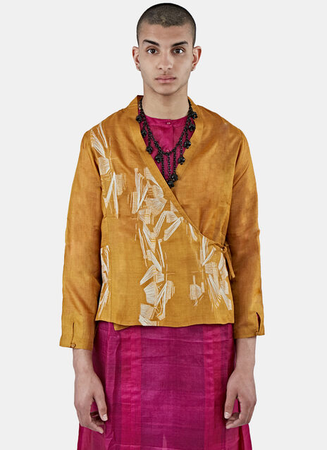 Silk Short Embroidered Wrap Jacket