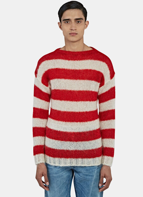 Striped Mohair Knit Sweater