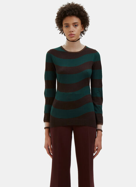 Striped Sheer Roll Neck Sweater