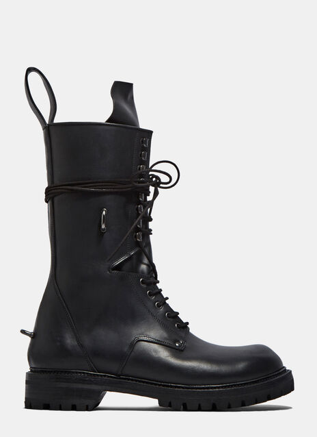 Elastic Long Chunky Lace-Up Boots