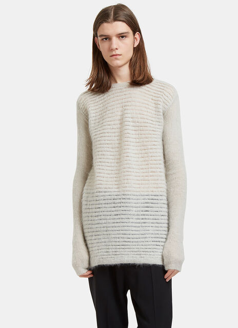 Oversized Round Neck Contrast Knit Sweater