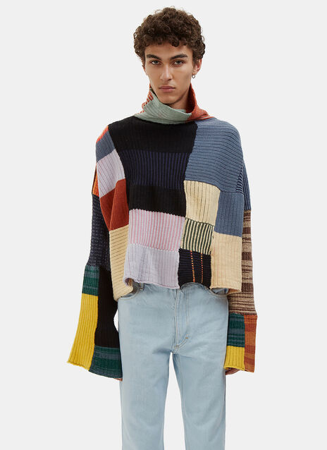 Coverlet Oversized Patchwork Knit Sweater