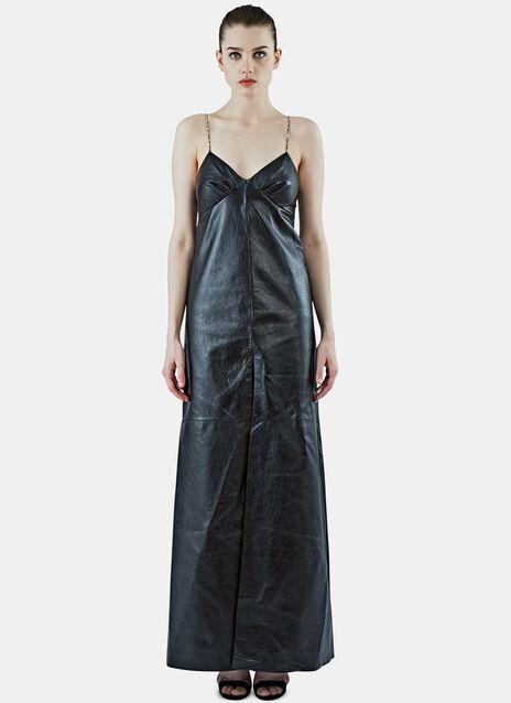 Long Leather Slip Dress