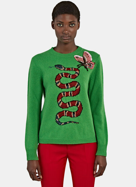 Snake Intarsia Knit Crew Neck Sweater