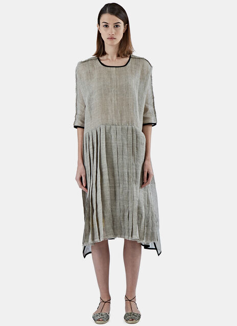 Oversized Pleated Linen Dress