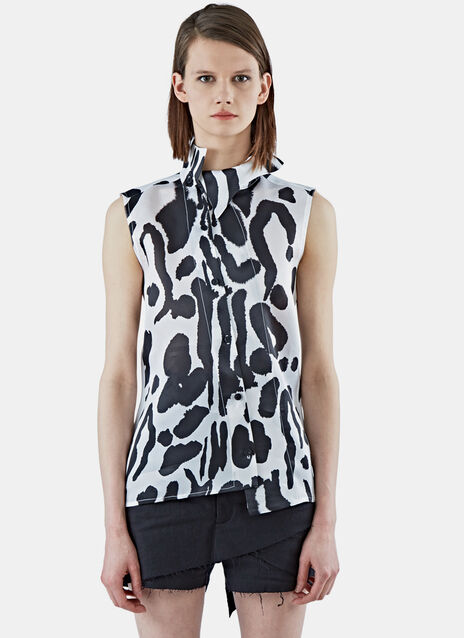 Organza Asymmetric Tiger Print Top