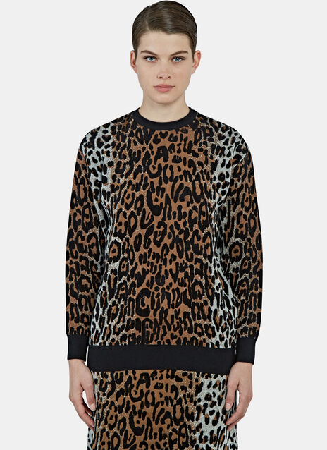 Leopard Intarsia Knit Sweater
