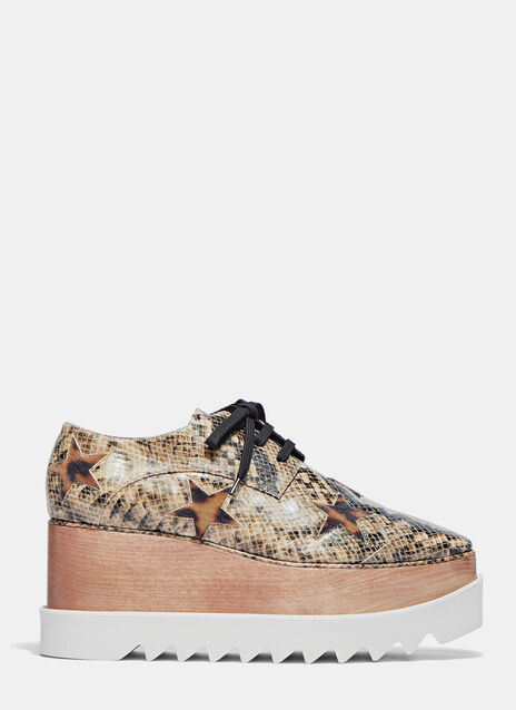 Elyse Snake Print Furry Star Platform Shoes