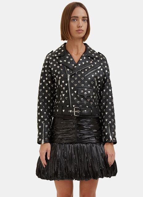 Heart Embellished Leather Jacket