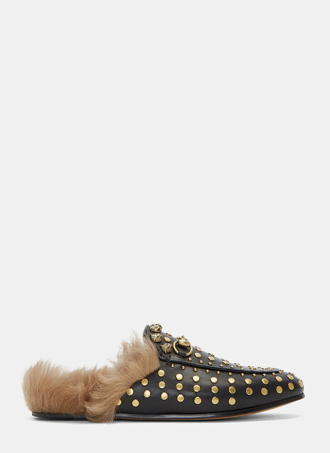 Studded Horsebit Fur Loafers