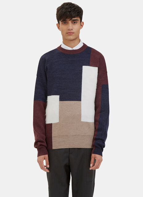 Mohair Block Panelled Crew Neck Sweater