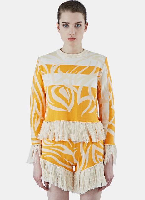 Tribai Cropped Fringe Sweater
