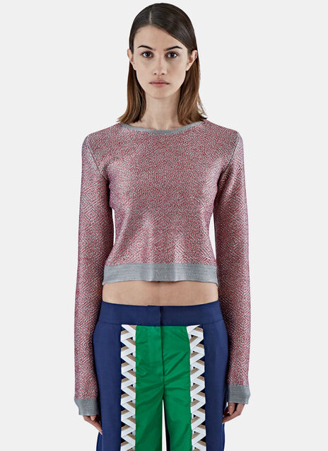 Cropped Contrast Diamond Knit Sweater